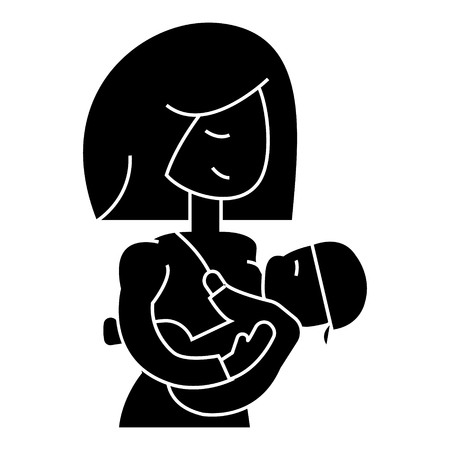Mother breastfeeding baby  icon, vector illustration, black sign on isolated background Illustration