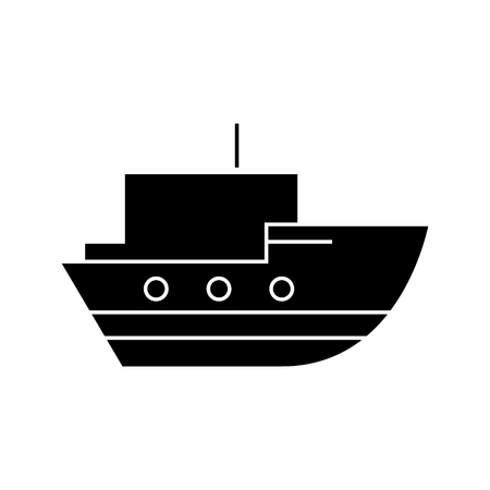 Ship in sea   icon, vector illustration, black sign on isolated background Stock Vector - 88158060