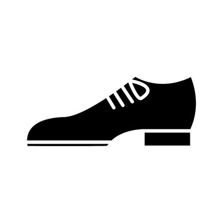 신발 신랑 아이콘, 벡터 일러스트 레이 션, 검은 색 격리 된 배경에 서명