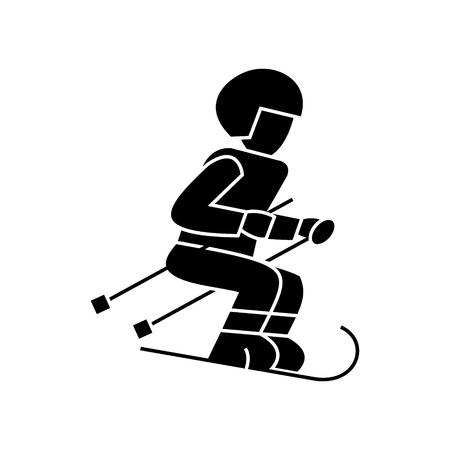 Skier  icon, vector illustration, black sign on isolated background
