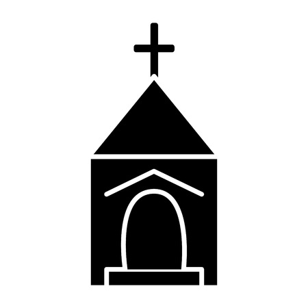 small church  icon, vector illustration, black sign on isolated background