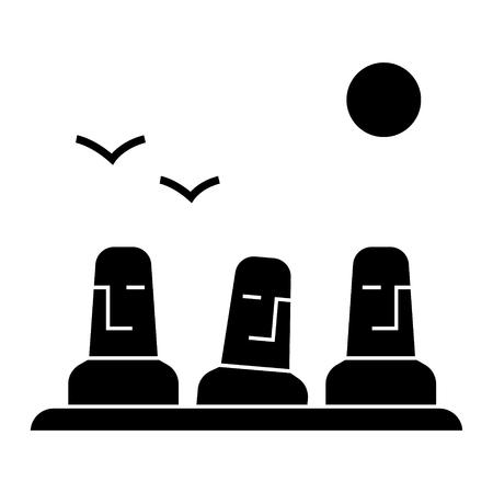 모노리스, 거석 아이콘, 벡터 일러스트 레이 션, 검은 색 격리 된 배경에 로그인
