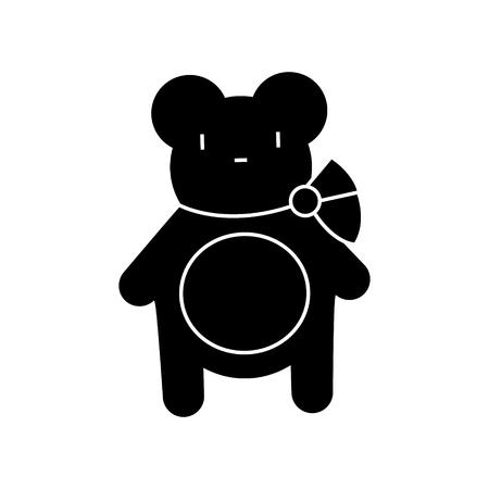 Teddybeerpictogram, vectorillustratie, zwart teken op geïsoleerde achtergrond