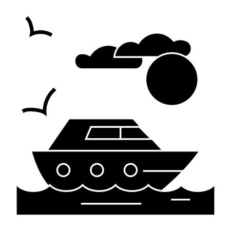 travel sea yacht  icon, vector illustration, black sign on isolated background Illustration