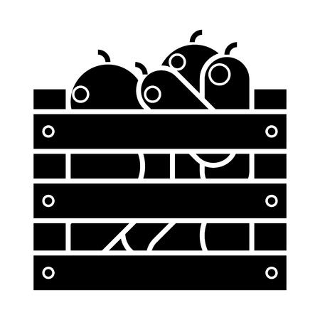 Vegetables harvest box  icon. Ilustracja