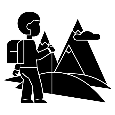traveller, hiking  icon, vector illustration, black sign on isolated background