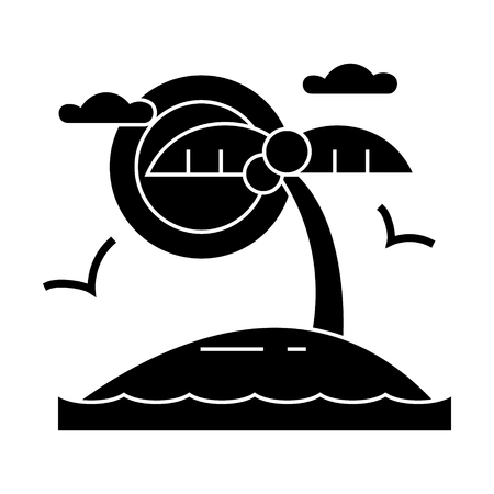 トロピカルビーチ島のアイコン、ベクトルイラスト、孤立した背景に黒いサイン