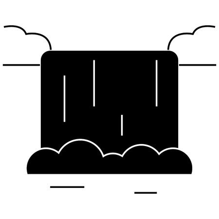 滝アイコン、ベクトル図では、孤立の背景に黒い印