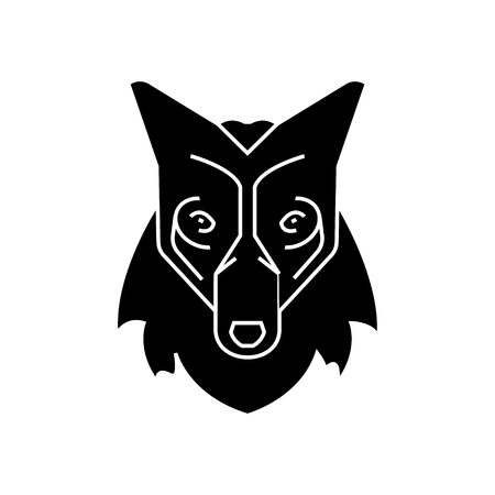 wolf head  icon, vector illustration, black sign on isolated background