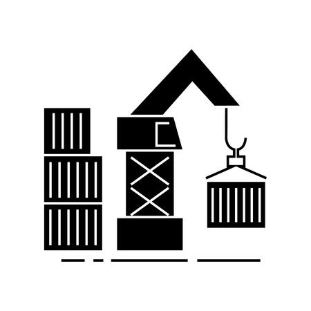 magazijn kraan vracht pictogram, vectorillustratie, zwarte ondertekenen op geïsoleerde achtergrond Stock Illustratie
