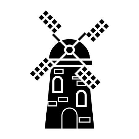 風車のアイコン、ベクトル分離の背景に黒の図記号