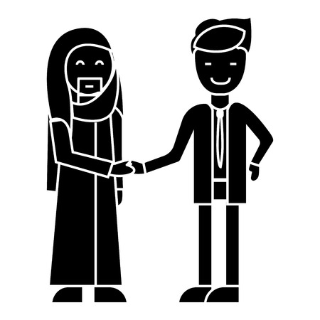 arab business,  partnership, businessmen handshake   icon, vector illustration, black sign on isolated background