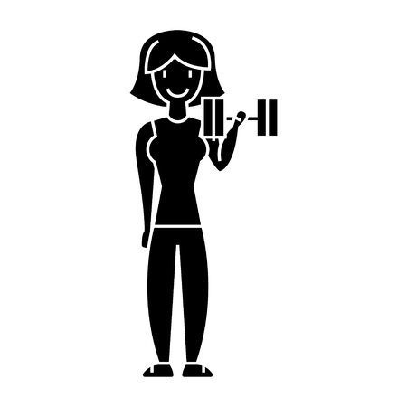 woman fitness with gym weights  icon, vector illustration, black sign on isolated background