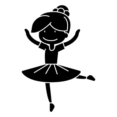 ballerina girl, balet dancer  icon, vector illustration, black sign on isolated background