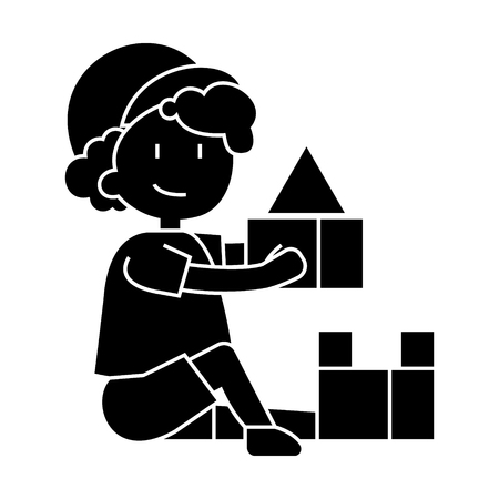 boy playing with toys, box of bricks  icon, vector illustration, black sign on isolated background