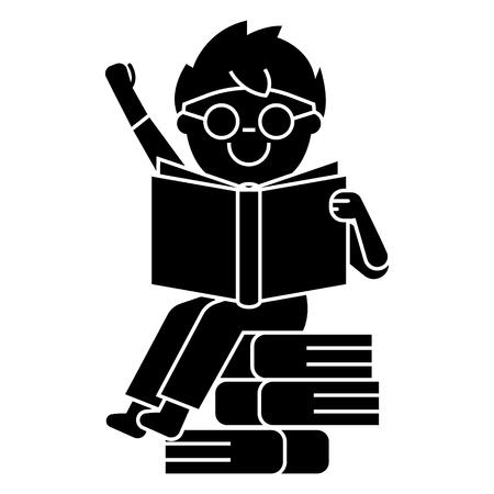 Junge Lesebuch sitzt auf Bücher Symbol, Vektor-Illustration, schwarzes Zeichen auf weißem Hintergrund Standard-Bild - 88185268