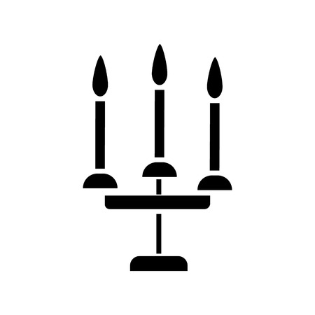 candles 3 candelabrum  icon, vector illustration, black sign on isolated background Stock Vector - 88185271
