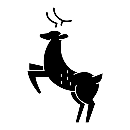 deer  icon, vector illustration, black sign on isolated background