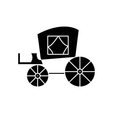 carriage vintage, antique transport  icon, vector illustration, black sign on isolated background Illustration
