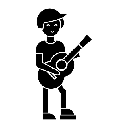 guitar player, flamenco  icon, vector illustration, black sign on isolated background