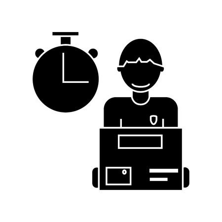koeriersdienst, koeriersdienst man met order box pictogram, vectorillustratie, zwarte ondertekenen op geïsoleerde achtergrond Stock Illustratie