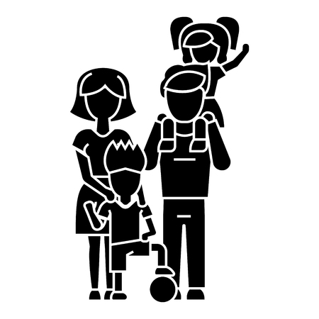 family, father, mother, son icon, vector illustration, black sign on isolated background Vektorové ilustrace