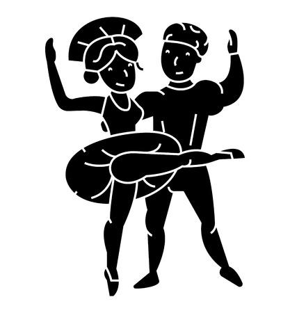 Couple de ballet, homme et femme, icône de la danse, illustration vectorielle, signe noir sur fond isolé Banque d'images - 88186424