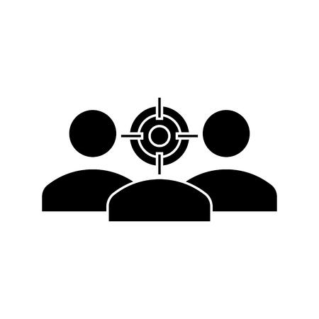 focus avatar pictogram, vectorillustratie, zwarte ondertekenen op geïsoleerde achtergrond Stock Illustratie