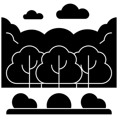 forest park  icon, vector illustration, black sign on isolated background Illustration