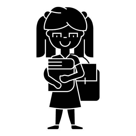 girl in school with book and backpack  icon, vector illustration, black sign on isolated background Stock Vector - 88186429