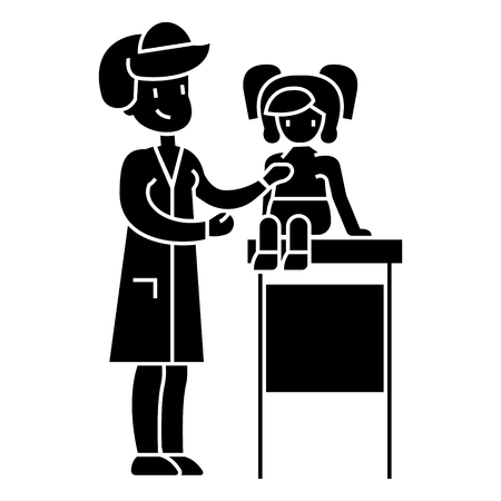 pediatrician doctor, medical examination of young baby with stethoscope  icon, vector illustration, black sign on isolated background Illusztráció