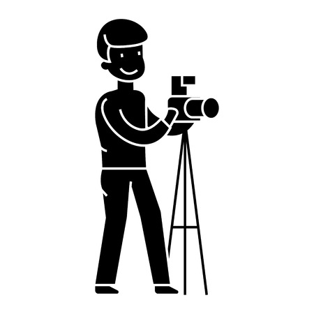photographer with camera and tripod, photo studio  icon, vector illustration, black sign on isolated background