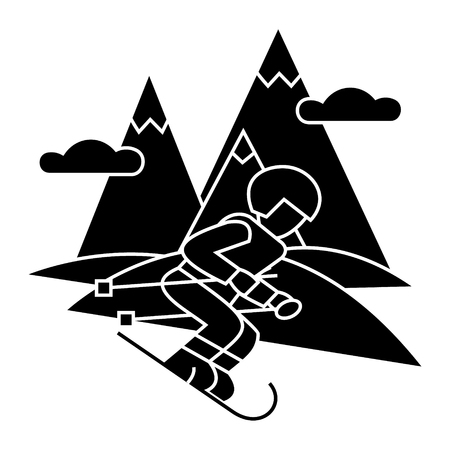 travel winter, skier skiing high mountains  icon, vector illustration, black sign on isolated background Illustration