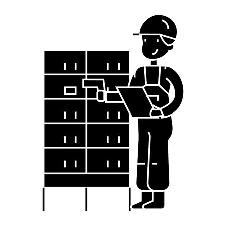 warehouse, delivery man checking barcode on post boxes  icon, vector illustration, black sign on isolated background Illusztráció
