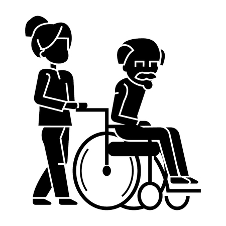 mujer joven, trabajador social paseando con anciano en el icono de la silla de ruedas, ilustración vectorial, signo negro sobre fondo aislado