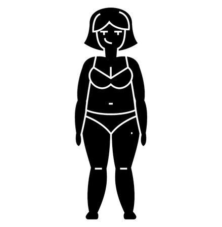 fat woman, diet  icon, vector illustration, black sign on isolated background
