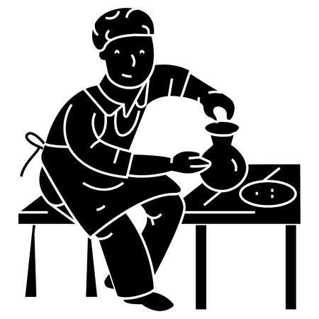 陶器、ポッター、陶芸家のアイコン、ベクトルイラスト、孤立した背景に黒いサイン