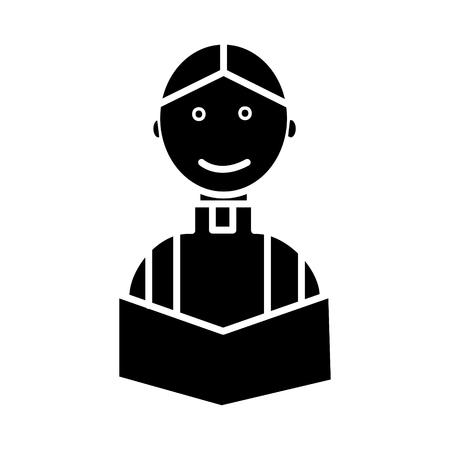 결혼식에서 신부 신부 종교 기독교 아이콘, 벡터 일러스트 레이 션, 검은 색 격리 된 배경에 서명 스톡 콘텐츠 - 88186475