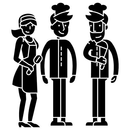 Trabalhadores da equipe do restaurante, garçom, fogão. ícone do barman, ilustração vetorial, sinal preto no fundo isolado Foto de archivo - 88186474