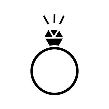 다이아몬드 아이콘, 벡터 일러스트 레이 션, 격리 된 배경에 검은 색 기호로 반지