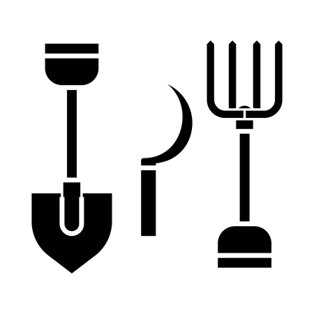 rural tools, shovel, hayfork, reaping hook  icon, vector illustration, black sign on isolated background