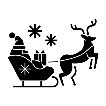 santa claus in a sleigh with a deer  icon, vector illustration, black sign on isolated background