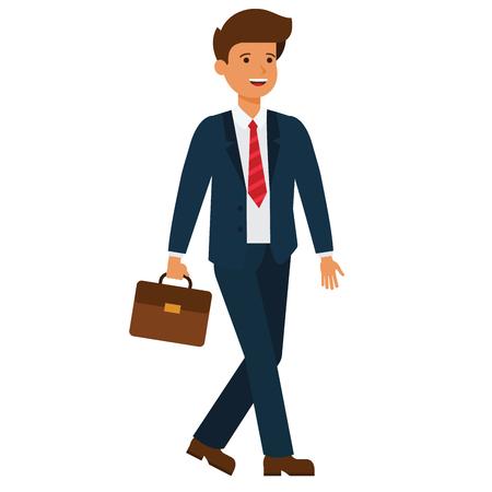 Hombre de negocios va a trabajar el concepto de dibujos animados ilustración plana sobre fondo blanco vector aislado