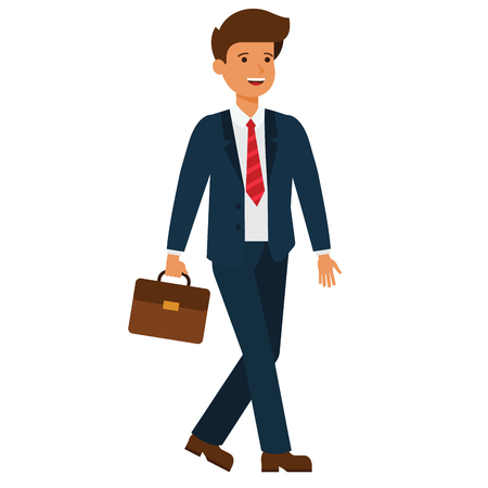 Businessman going to work cartoon flat illustration concept on isolated vector white background
