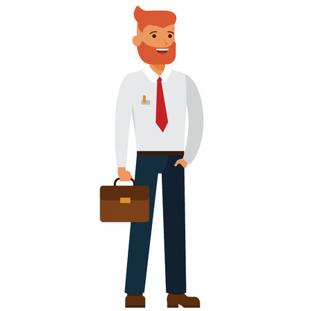 Bearded businessman with case cartoon flat illustration concept on isolated vector white background Ilustração