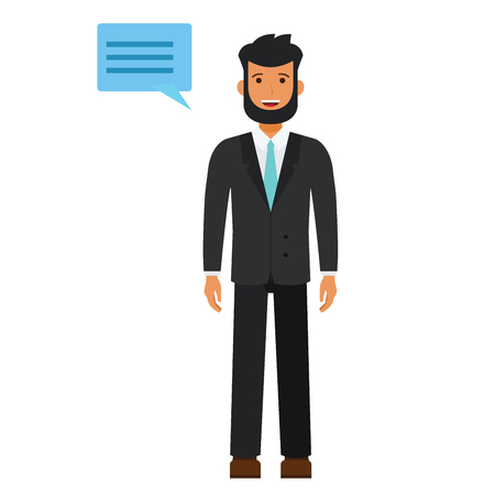 Bearded young man in suit cartoon flat illustration concept on isolated vector white background Ilustrace