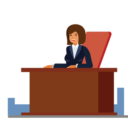 Business female receptionist cartoon flat illustration concept on isolated vector white background