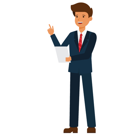 Businessman making speech cartoon flat illustration concept on isolated vector white background