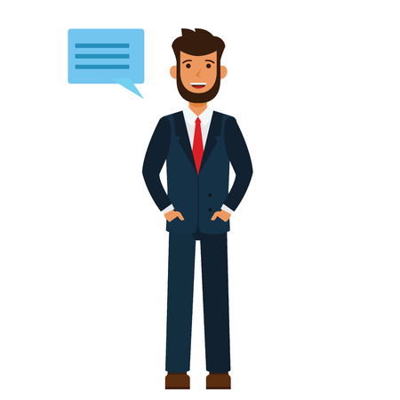 Businessman says hello cartoon flat illustration concept on isolated vector white background