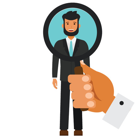 Human resources search candidate cartoon flat illustration concept on isolated vector white background Illustration